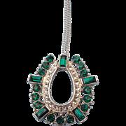 1950s Emerald Rhinestone Pendant Necklace!