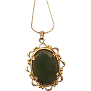 1960s Real Jade Gemstone Pendant Necklace!