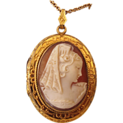 REDUCED 1940s Carved Real Cameo Locket Pendant & Chain, Gold Filled!