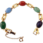 REDUCED 1960s Golden Link Faux Gemstone Bracelet With Art Glass Cabs!