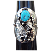 REDUCED Navajo Silversmith Dennis O'Kee Sterling Eagle Ring With Morenci Turquoise!