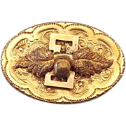 1910s Edwardian Gold Face Fancy Repousse' Brooch With Fob Hook!