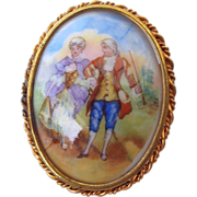 REDUCED French Limoges Signed Cameo Brooch, Trombone Clasp!