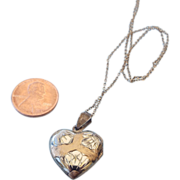 Sterling Heart Pendant Locket With Chain!
