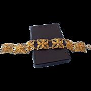 REDUCED Signed Gold Vermeil Fancy Flower Design Station Bracelet, Handmade In Portugal!