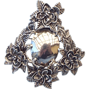 REDUCED Solid Sterling Silver Fancy Floral Brooch - Pendant, Engravable Face!