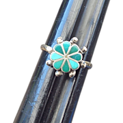 REDUCED Petite Petit Point Zuni Crafted Sterling Ring, Size 5-1/2!