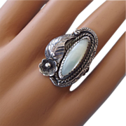 REDUCED Navajo Sterling & Mother Of Pearl Classic Design Ring!