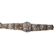 REDUCED Egyptian Revival Bracelet 1940s Filigree With Various Scenes!