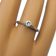 SALE 14k Solitaire Diamond Ring, White Gold, 1/4 carat Brilliant White Diamond, Vintage 1960s!
