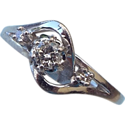SALE VALENTINE SALE reduced 30%! 14k White Gold Diamond Ring, 3 Stones, 1/4 CWT. Size 7-1/4
