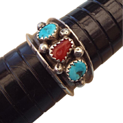 REDUCED Navajo Crafted Sterling Band Ring With Gemstones!