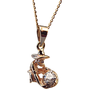REDUCED 10k Gold Figural Miner Pendant .20 point Brilliant Diamond, 14k Chain Included!