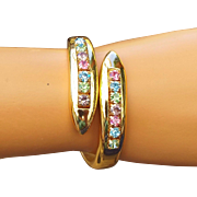 REDUCED Mid Century Pastel Rhinestone Bypass Bracelet, Excellent Vintage!