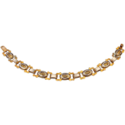 REDUCED 1950s Spanish Damascene Bracelet, Classic Design, Mother Of Pearl Stations!