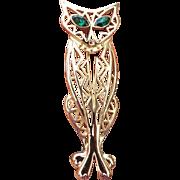 "REDUCED ""AJC"" American Jewelry Company Fancy Filigree CAT Brooch, Green Rhinestone E"