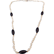 REDUCED Freshwater Baroque Pearl and Onyx Fancy Necklace, 14k Gold Clasp!
