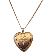 REDUCED Sweet Petite 1940s Gold Filled Heart Locket With A Diamond Accent!