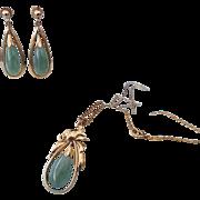 SALE 1950s Asian Jadeite Set in 14k Gold, Excellent Vintage Treasure!