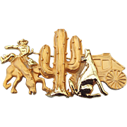 SALE Old Southwest Themed Pin, Stagecoach, Cowboy, Cactus and Coyote!