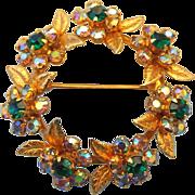 SALE 1950s Elegant Rhinestone Wreath Brooch, A Terrific Holiday Treasure!