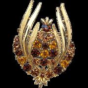SALE Fancy Rhinestone Wreath Brooch, Fall Colors, Great Vintage Treasure!