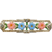 SALE 1930s Fancy Bar Brooch With Pink and Blue Flowers! Art Deco