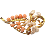 SALE Natural Coral and Baroque Pearl Pin, Asian 1950s!