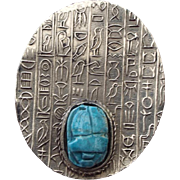 SALE 1960s Classic Egyptian Revival Pin With Scarab stone!
