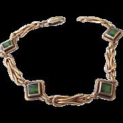 SALE Signed STURDY Gold Vermeil Bracelet, Art Glass Stones, 1930s Vintage Treasure!