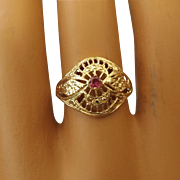 REDUCED Tested 14k Yellow Gold and Ruby Filigree Ring, Excellent Vintage!