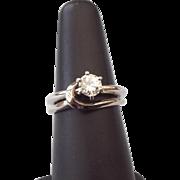 SALE 14k White Gold Diamond Wedding Set Half Carat VVS1 Diamond Solitaire Mounted, 1970s!