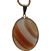 SALE Natural Banded Agate Gemstone Pendant Necklace, 1960s Lapidary Artist Crafted!