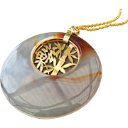 SALE Asian Banded Agate Gemstone Pendant Golden Bamboo Centerpiece and Chain!