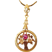 SALE 14k Yellow Gold and Ruby Floral Lavaliere Necklace 1940s Victorian Revival!