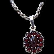 SALE Petite Genuine Bohemian Garnet Sterling Pendant Necklace, Exquisite Vintage!