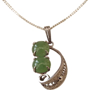 SALE 1960s Sterling and Jade Pendant Necklace, Classic Design!