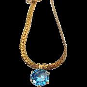 SALE Vintage 12k Gold Filled Fancy Blue Topaz Gemstone Pendant Necklace, Splendid!