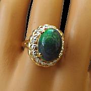 SALE Extremely Rare Ammonite Gemstone Cabochon Ring Surrounded with Diamonds, 14k Mounting!