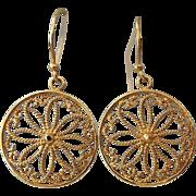"""SALE Gold Vermeil Filigree Drop Earrings, Marked """"925"""""""