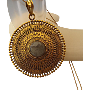 Fancy Italian Bronze Pendant, Labradorite Gemstone Centerpiece, Elegant Retro Design!