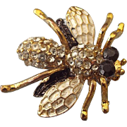 Vintage Figural Bee Or Bug Pin, Very Nicely Made, Rhinestone Accented!