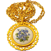 English Bone China Pendant Necklace, Forget-Me-Nots!