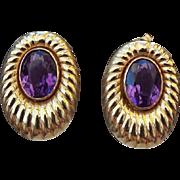 SALE 14k Yellow Gold and Amethyst Gemstone Pierced Earrings, Gorgeous!
