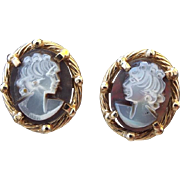 SALE 1980s Hardstone Cameo Pierced Earrings 14k Yellow Gold Solid Frame!