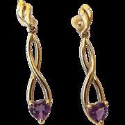 SALE 10k Yellow Gold Amethyst Dangle Earrings, February Birthstone!