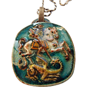 SALE Rare Saint George and the Dragon Karlsruhe Germany Ceramic Pendant Necklace Signed!
