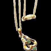 SALE 1940s Petite Lavaliere Pendant Necklace with Emeralds!