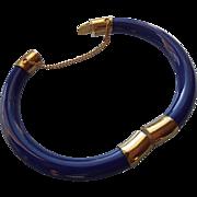 SALE Cobalt Blue Hinged Bracelet With Safety, Classic Vintage!