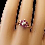 SALE 14k Gold, Ruby and Diamond Gemstone Ring, Beautiful Vintage Mid-Century Treasure!
